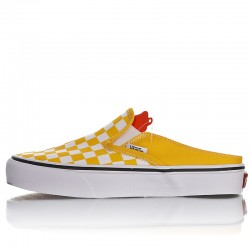 Summer VANS Slip-On Mule Yellow White Checkerboard Canvas Skate Shoes