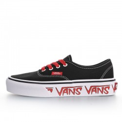 Vans Authentic Sketch Sidewall Black Red Canvas Skate Shoes