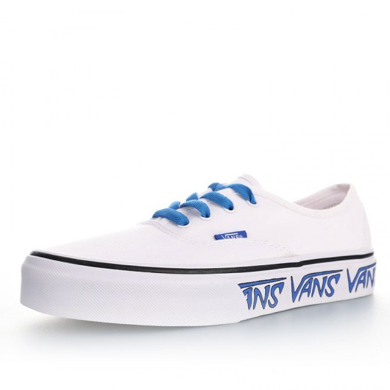 Vans Authentic Sketch Sidewall White Blue Canvas Skate Shoes