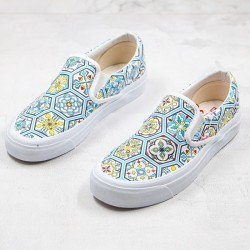 Vans KITH X Classic Slip-On Blue Moroccan Pattern Canvas Skate Shoes