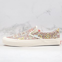 Vans KITH X Classic Slip-On Brown Moroccan Pattern Canvas Skate Shoes