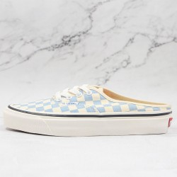 Vans Checkerboard Classic Authentic Mule Blue White Skate Shoes