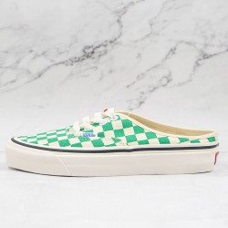 Vans Checkerboard Classic Authentic Mule Green White Skate Shoes