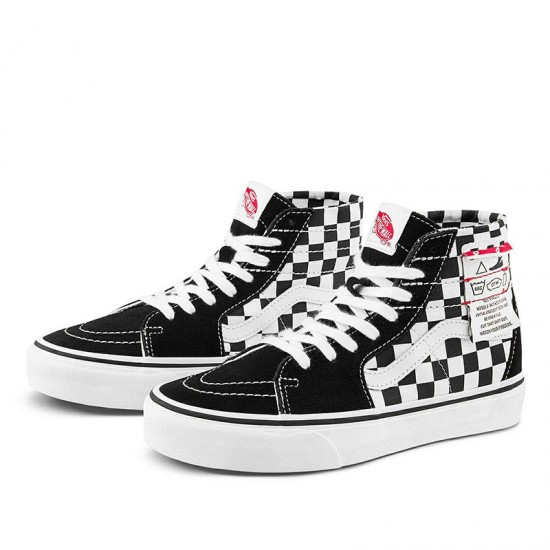 Vans Sk8-Hi Tapered Checkerboard White Black Canvas Shoes
